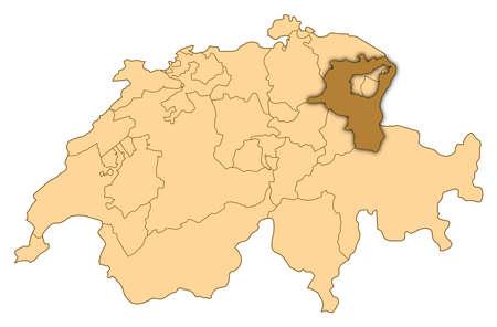 st  gallen: Mapa de Suiza, donde se destaca St. Gallen.
