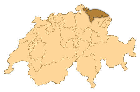Map of Switzerland where Thurgau is highlighted. photo