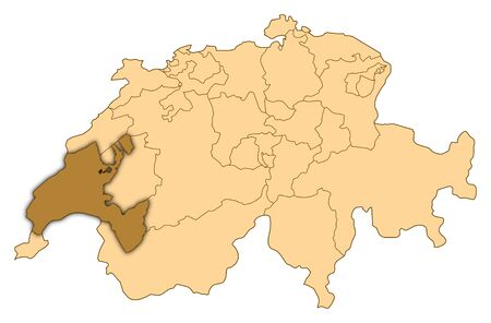Map of Switzerland where Vaud is highlighted. photo