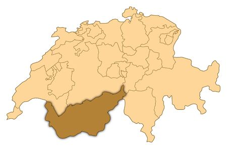 valais: Map of Switzerland where Valais is highlighted. Stock Photo
