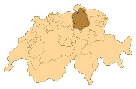 Map of Switzerland where Zurich is highlighted. photo