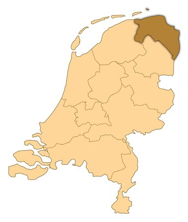 Map of Netherlands where Groningen is highlighted. Stock Photo - 14450036
