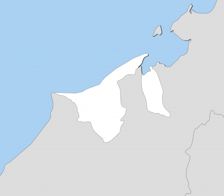 southeastern asia: Map of Brunei with the several states
