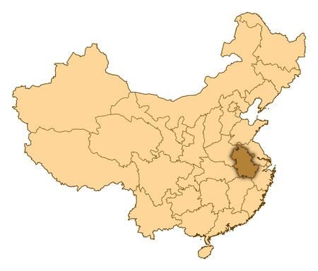 Map of China where Anhui is highlighted. photo