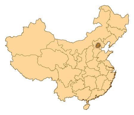 Map of China where Beijing is highlighted. photo