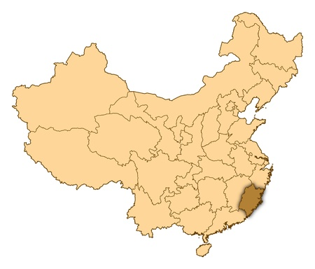 Map of China where Fujian is highlighted. photo