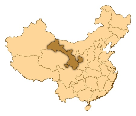 Map of China where Gansu is highlighted. photo