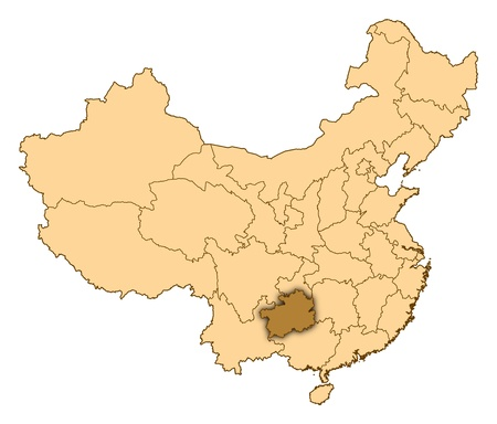 Map of China where Guizhou is highlighted. photo