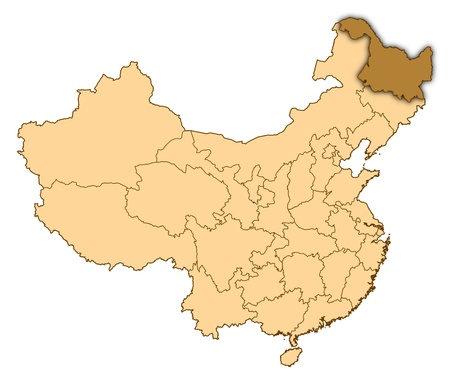 Map of China where Heilongjiang is highlighted. photo
