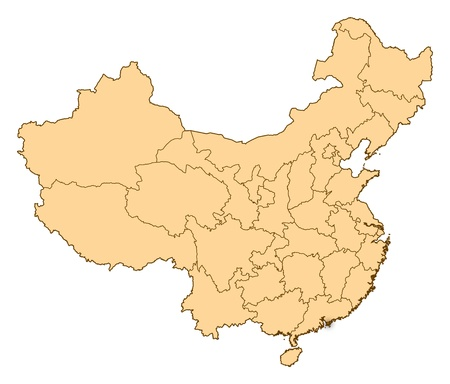 Map of China where Hong Kong is highlighted. photo