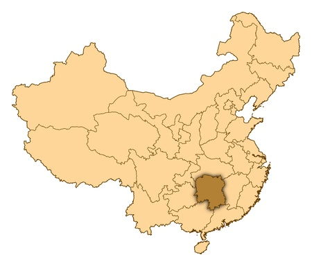 Map of China where Hunan is highlighted. photo