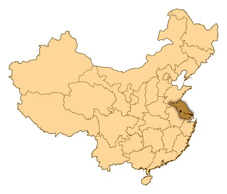 Map of China where Jiangsu is highlighted. photo