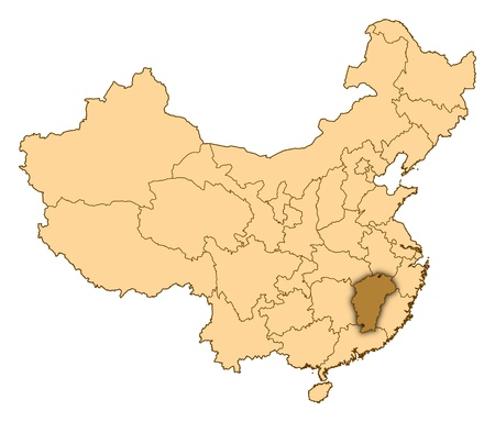 Map of China where Jiangxi is highlighted. photo