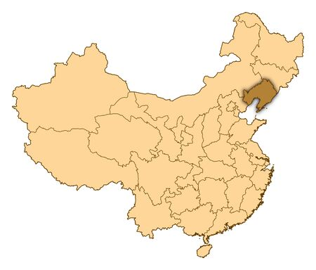 Map of China where Liaoning is highlighted. photo