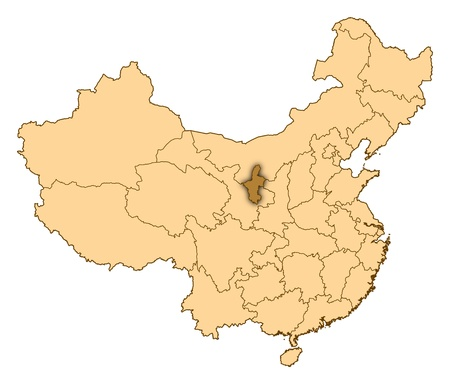 Map of China where Ningxia is highlighted. photo