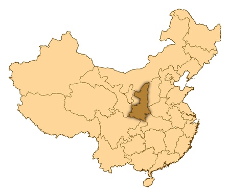Map of China where Shaanxi is highlighted. photo