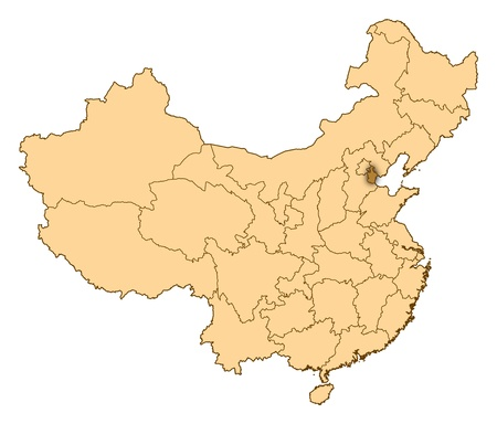 Map of China where Tianjin is highlighted. photo