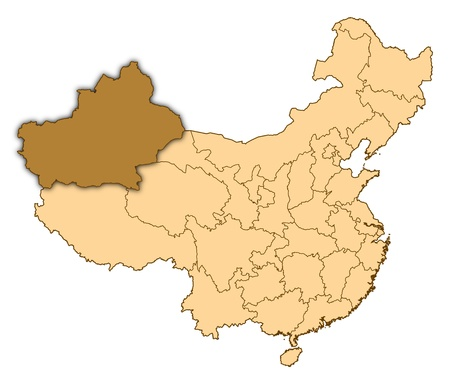 Map of China where Xinjiang is highlighted. photo