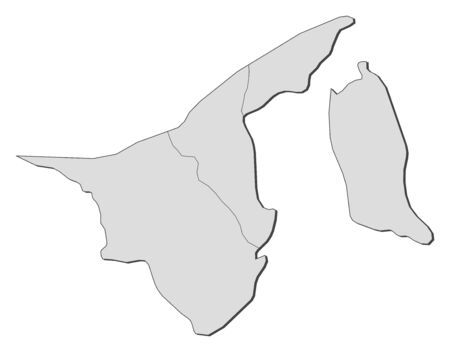 southeastern asia: Political map of Brunei with the several Districts. Illustration