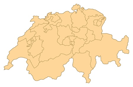 Map of Switzerland with the several provinces. Illustration