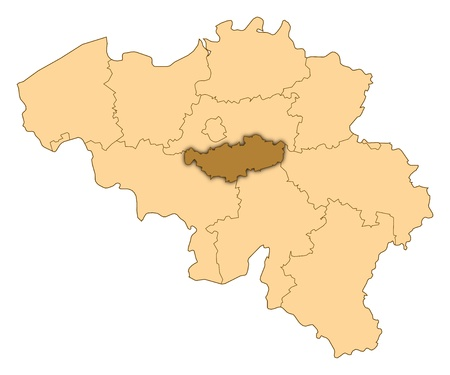 walloon: Map of Belgium where Walloon Brabant is highlighted. Stock Photo