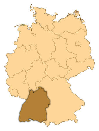 Map of Germany where Baden-W�rttemberg is highlighted. photo