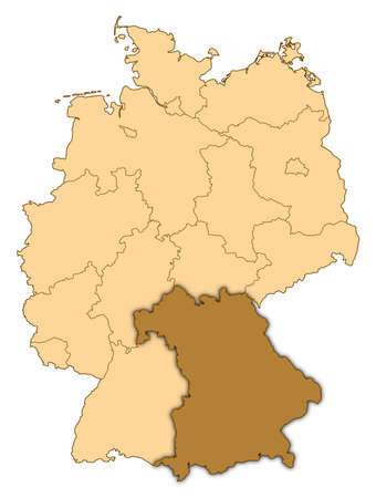 Map of Germany where Bavaria is highlighted. photo