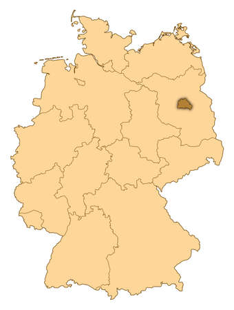 Map of Germany where Berlin is highlighted. photo