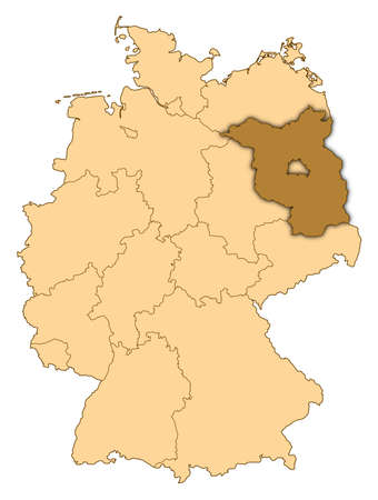 Map of Germany where Brandenburg is highlighted. photo