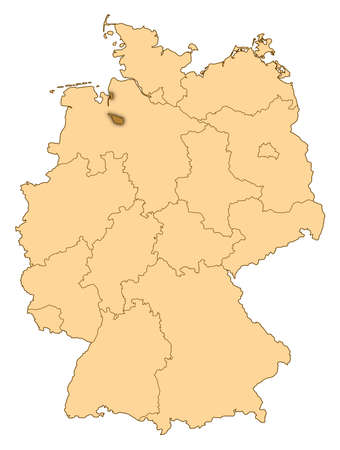 Map of Germany where Bremen is highlighted. photo