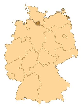 Map of Germany where Hamburg is highlighted. photo
