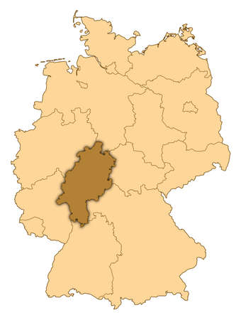 Map of Germany where Hesse is highlighted. photo