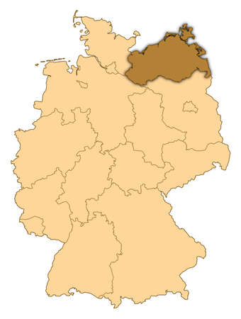 Map of Germany where Mecklenburg-Vorpommern is highlighted. photo
