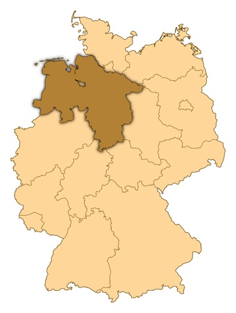 Map of Germany where Lower Saxony is highlighted. photo