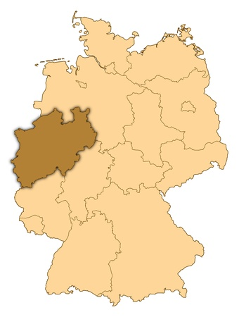 Map of Germany where North Rhine-Westphalia is highlighted. photo