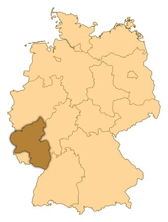 Map of Germany where Rhineland-Palatinate is highlighted. photo