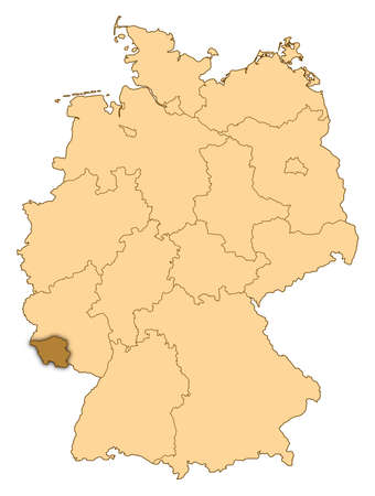 Map of Germany where Saarland is highlighted. photo