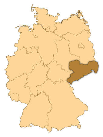 Map of Germany where Saxony is highlighted. photo