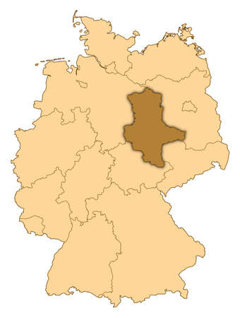Map of Germany where Saxony-Anhalt is highlighted. photo