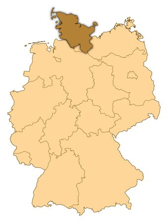 Map of Germany where Schleswig-Holstein is highlighted. photo