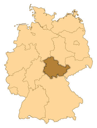 Map of Germany where Thuringia is highlighted. photo