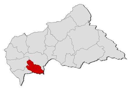 republique: Political map of Central African Republic with the several prefectures where Lobaye is highlighted.