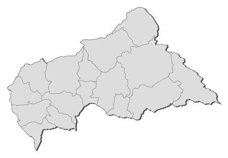 republique: Political map of Central African Republic with the several prefectures.