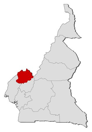 northwest: Political map of Cameroon with the several regions where Northwest is highlighted. Illustration