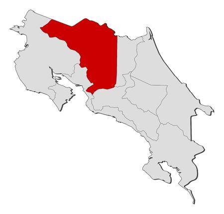 highlighted: La mappa politica del Costa Rica con le diverse province in cui si evidenzia Alajuela. Vettoriali