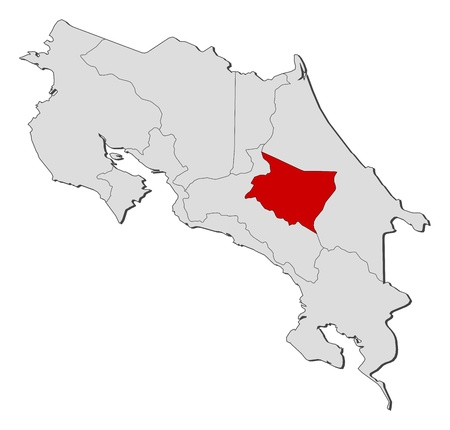 highlighted: Mappa politica di Costa Rica con le diverse province in cui � evidenziato Cartago.