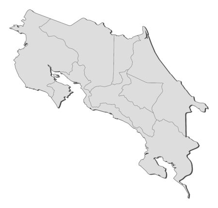 Political map of Costa Rica with the several provinces.