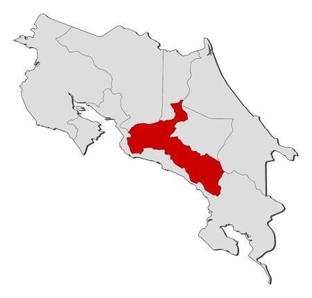 highlighted: La mappa politica del Costa Rica con le diverse province in cui � evidenziato San Jos.