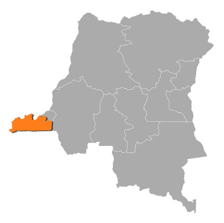 Map of Democratic Republic of the Congo where Bas-Congo is highlighted. Vector