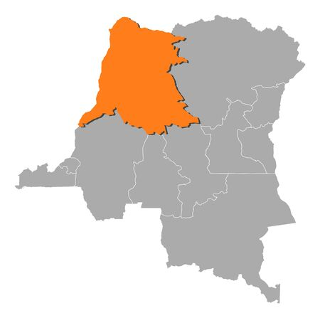 republique: Map of Democratic Republic of the Congo where �quateur is highlighted.